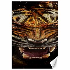 Tiger Face Canvas 12  X 18   by BangZart