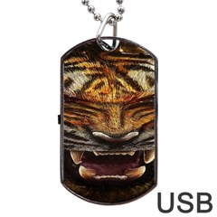 Tiger Face Dog Tag Usb Flash (one Side) by BangZart