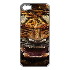 Tiger Face Apple Iphone 5 Case (silver) by BangZart