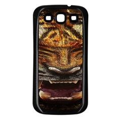Tiger Face Samsung Galaxy S3 Back Case (black) by BangZart