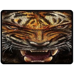 Tiger Face Double Sided Fleece Blanket (large)  by BangZart