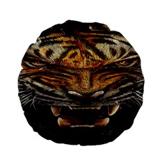 Tiger Face Standard 15  Premium Flano Round Cushions by BangZart