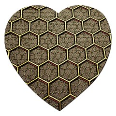Texture Hexagon Pattern Jigsaw Puzzle (heart) by BangZart