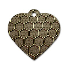Texture Hexagon Pattern Dog Tag Heart (one Side) by BangZart