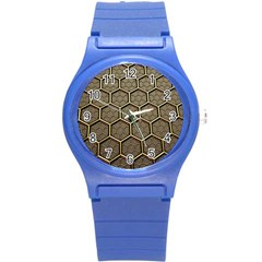 Texture Hexagon Pattern Round Plastic Sport Watch (s) by BangZart