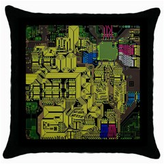 Technology Circuit Board Throw Pillow Case (black)