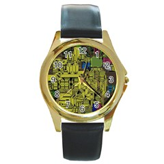 Technology Circuit Board Round Gold Metal Watch by BangZart