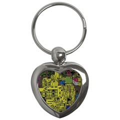 Technology Circuit Board Key Chains (heart)  by BangZart