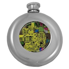 Technology Circuit Board Round Hip Flask (5 Oz) by BangZart