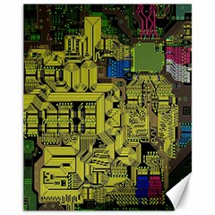 Technology Circuit Board Canvas 11  X 14