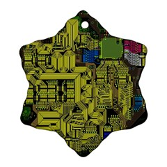Technology Circuit Board Snowflake Ornament (two Sides) by BangZart