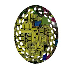 Technology Circuit Board Oval Filigree Ornament (two Sides) by BangZart