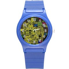 Technology Circuit Board Round Plastic Sport Watch (s)