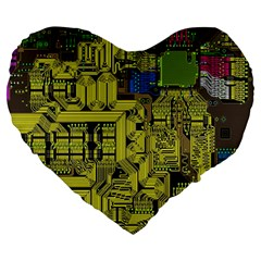 Technology Circuit Board Large 19  Premium Heart Shape Cushions