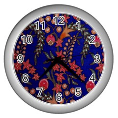 Texture Batik Fabric Wall Clocks (silver)  by BangZart