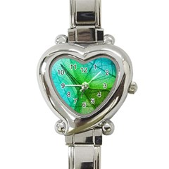 Sunlight Filtering Through Transparent Leaves Green Blue Heart Italian Charm Watch by BangZart