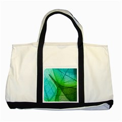 Sunlight Filtering Through Transparent Leaves Green Blue Two Tone Tote Bag by BangZart
