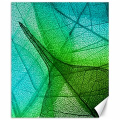 Sunlight Filtering Through Transparent Leaves Green Blue Canvas 8  X 10  by BangZart