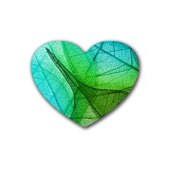 Sunlight Filtering Through Transparent Leaves Green Blue Rubber Coaster (heart)  by BangZart