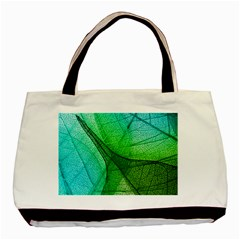 Sunlight Filtering Through Transparent Leaves Green Blue Basic Tote Bag (two Sides) by BangZart