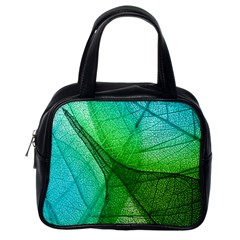 Sunlight Filtering Through Transparent Leaves Green Blue Classic Handbags (one Side) by BangZart