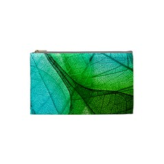 Sunlight Filtering Through Transparent Leaves Green Blue Cosmetic Bag (small)  by BangZart