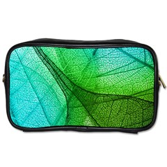 Sunlight Filtering Through Transparent Leaves Green Blue Toiletries Bags