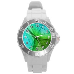 Sunlight Filtering Through Transparent Leaves Green Blue Round Plastic Sport Watch (l) by BangZart