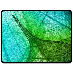 Sunlight Filtering Through Transparent Leaves Green Blue Double Sided Fleece Blanket (large)  by BangZart