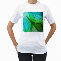 Sunlight Filtering Through Transparent Leaves Green Blue Women s T Shirt (white)  by BangZart