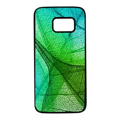 Sunlight Filtering Through Transparent Leaves Green Blue Samsung Galaxy S7 Black Seamless Case by BangZart