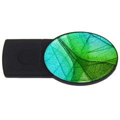 Sunlight Filtering Through Transparent Leaves Green Blue Usb Flash Drive Oval (4 Gb) by BangZart