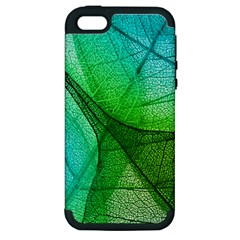 Sunlight Filtering Through Transparent Leaves Green Blue Apple Iphone 5 Hardshell Case (pc+silicone) by BangZart
