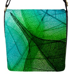 Sunlight Filtering Through Transparent Leaves Green Blue Flap Messenger Bag (s)