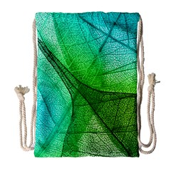 Sunlight Filtering Through Transparent Leaves Green Blue Drawstring Bag (large) by BangZart