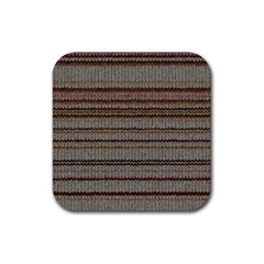 Stripy Knitted Wool Fabric Texture Rubber Coaster (square)  by BangZart