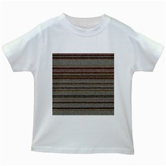 Stripy Knitted Wool Fabric Texture Kids White T Shirts by BangZart