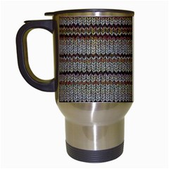 Stripy Knitted Wool Fabric Texture Travel Mugs (white) by BangZart