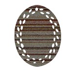 Stripy Knitted Wool Fabric Texture Oval Filigree Ornament (Two Sides) Front