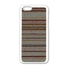 Stripy Knitted Wool Fabric Texture Apple Iphone 6/6s White Enamel Case by BangZart