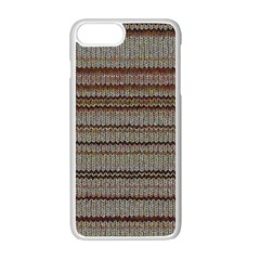 Stripy Knitted Wool Fabric Texture Apple Iphone 7 Plus White Seamless Case by BangZart