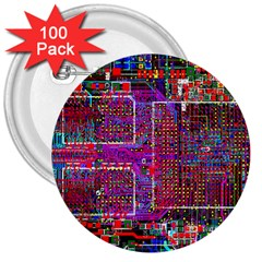 Technology Circuit Board Layout Pattern 3  Buttons (100 Pack)