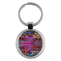 Technology Circuit Board Layout Pattern Key Chains (round)  by BangZart
