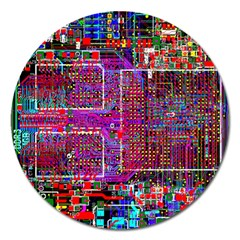 Technology Circuit Board Layout Pattern Magnet 5  (round) by BangZart
