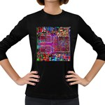 Technology Circuit Board Layout Pattern Women s Long Sleeve Dark T-Shirts Front
