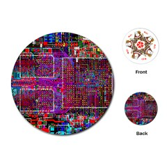 Technology Circuit Board Layout Pattern Playing Cards (round)