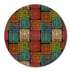 Stract Decorative Ethnic Seamless Pattern Aztec Ornament Tribal Art Lace Folk Geometric Background C Round Mousepads