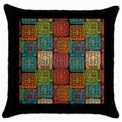 Stract Decorative Ethnic Seamless Pattern Aztec Ornament Tribal Art Lace Folk Geometric Background C Throw Pillow Case (black)