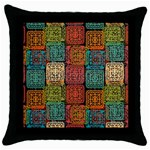 Stract Decorative Ethnic Seamless Pattern Aztec Ornament Tribal Art Lace Folk Geometric Background C Throw Pillow Case (Black) Front