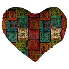 Stract Decorative Ethnic Seamless Pattern Aztec Ornament Tribal Art Lace Folk Geometric Background C Large 19  Premium Flano Heart Shape Cushions